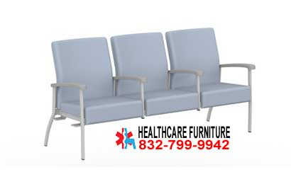 Low Back Three Seat Doctors Office Visitor Chairs With Center Arms Right or Left Link
