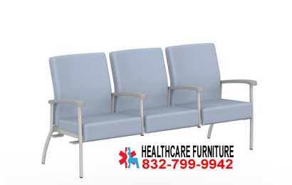 Low Back Three Seat Healthcare Reception Area Chairs With Center Arms, Right & Left Links for sale in Houston, Texas