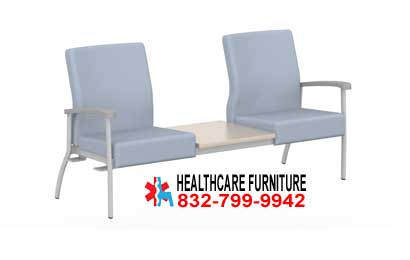 Low Back Two Seat Doctor Reception Room Chairs With Center Table Top, Right Or Left Link For Sale In Austin, Texas