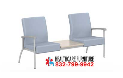 Low Back Two Seat Hospital Reception Area Seating With Center Table Top In Dallas Texas