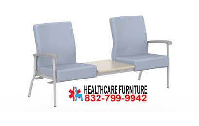 Low Back Two Seat Medical Office Lobby Chairs With Center Table Top, Right And Left Links For Sale In San Antonio, Texas