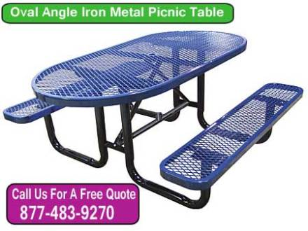 Discount Oval Angle Iron Picnic Table For Sale Cheap At Wholesale Prices